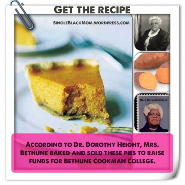 Mary Mcleod Bethune sweet potato pie