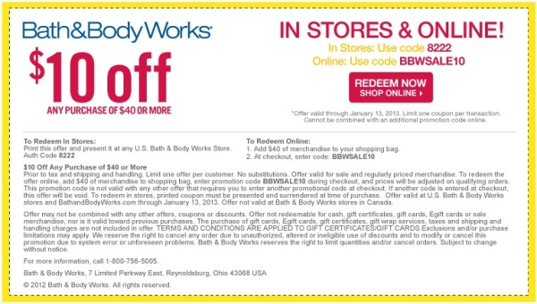 Bath and Body works promo code 2013