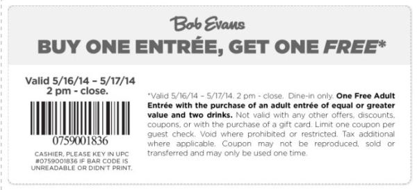 bobevans- FREE coupon - May 2014