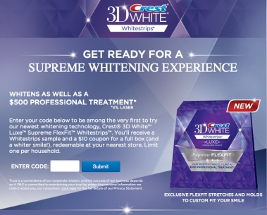 crest white strips freebie code