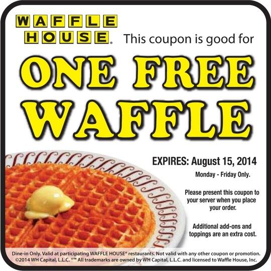 Free waffle at waffle house 2014