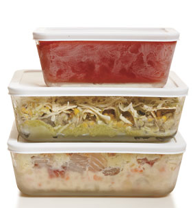 make food in batches and then freeze in cookable container