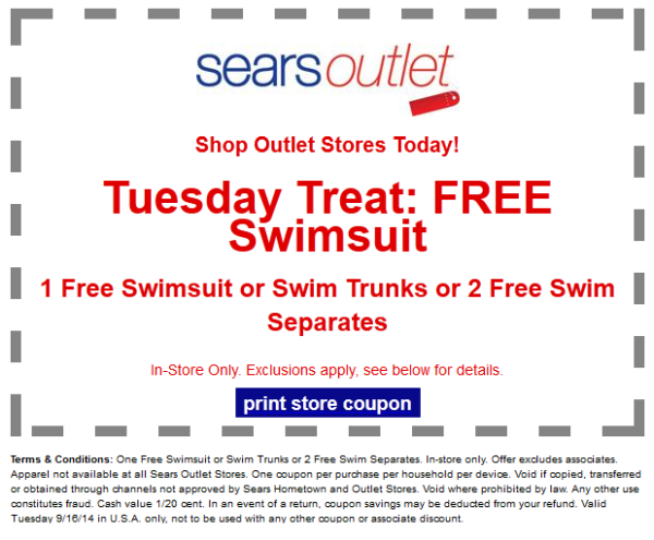 free swimsuit from Sears Outlet