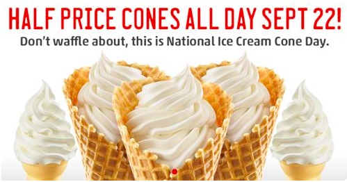 Free Ice Cream Cone on Ice Cream Day Sept 2014