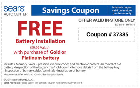 FREE battery installation at Sears Auto