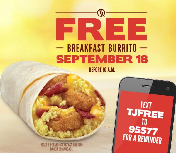 free taco john breakfast burriot