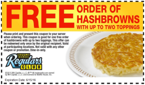 free hashbrowns at Waffle House 2016